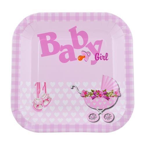 Baby Gırl Kare 12'Li Servis Tabağı 23*23 Cm