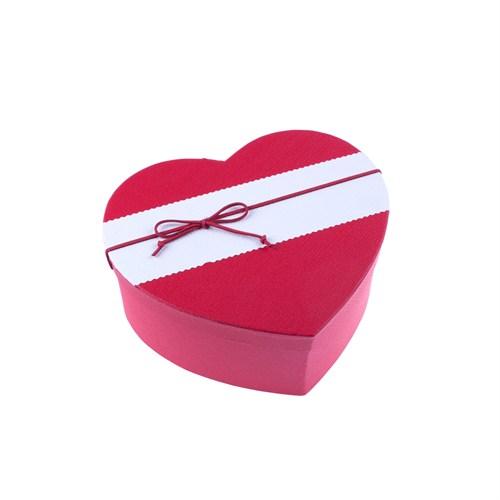 Kullan At Market Fiyonklu Kırmızı Kalp Kutu Büyük Boy