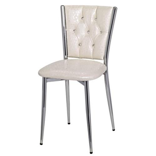 Metalia Gm163 Krem Deri Döşemeli Sandalye