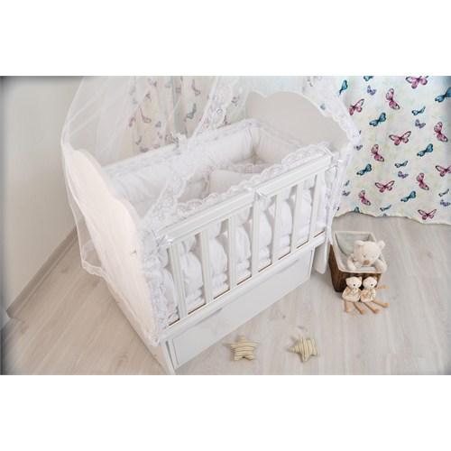 Bebekonfor Easylife Beyaz Fransız Çekmeceli Bebek Beşiği