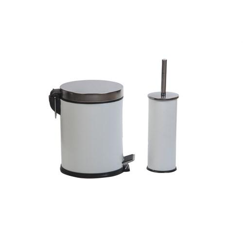 Tema 5 Litre Pedallı Çöp Kovası + Klozet Fırçası Beyaz Boyalı