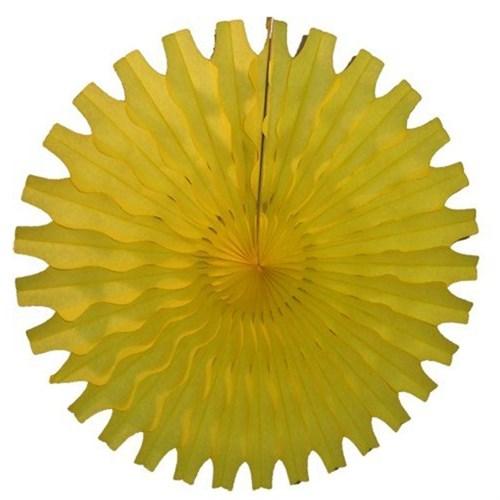 Pandoli Delikli Sarı Renk Kağıt Yelpaze Süs 40 Cm 1 Adet