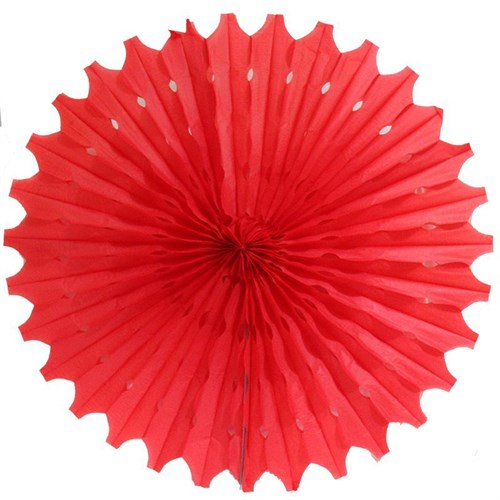 Pandoli Delikli Kırmızı Renk Kağıt Yelpaze Süs 70 Cm 1 Adet