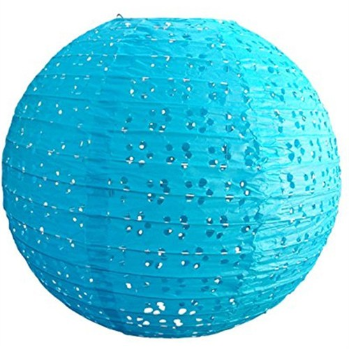 Pandoli Mavi Renk 35 Cm Dantelli Kağıt Çin Feneri Asma Süs