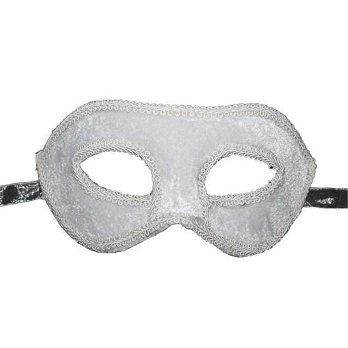 Pandoli Beyaz Renk İşlemeli Venedik Maskesi