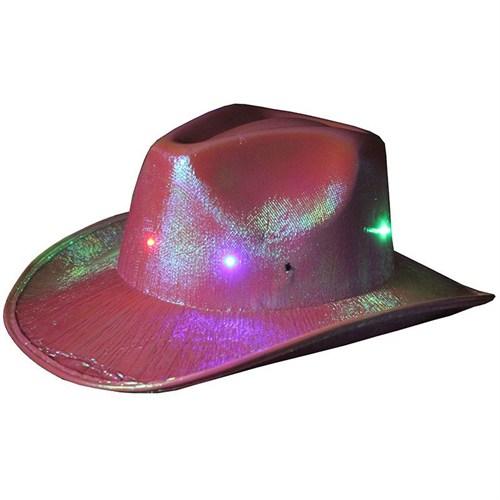 Pandoli Pembe Renk Işıklı Kovboy Şapkası