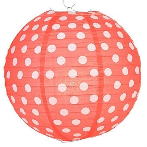 Pandoli Kağıt Çin Feneri Asma Süs Kırmızı Beyaz Puanlı 35 Cm
