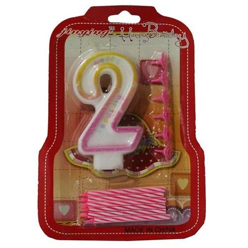 Pandoli 2 Numaralı Pembe Renk Happy Birthday Parti Mumu