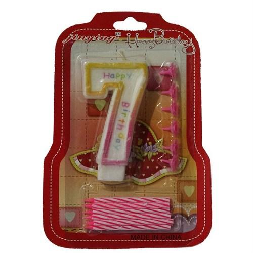 Pandoli 7 Numaralı Pembe Renk Happy Birthday Parti Mumu
