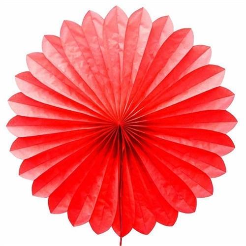 Pandoli Dilimli Kırmızı Renk Kağıt Yelpaze Süs 40 Cm 1 Adet