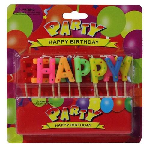 Pandoli Kürdanlı Happy Birthday Yazılabilen Parti Mumu