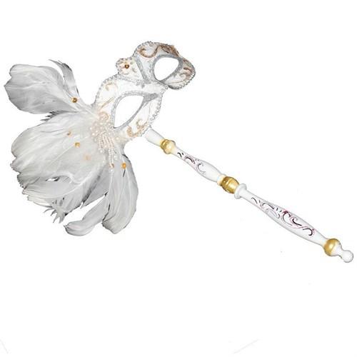 Pandoli Beyaz Renk Tüylü İşlemeli Sopalı Venedik Maskesi
