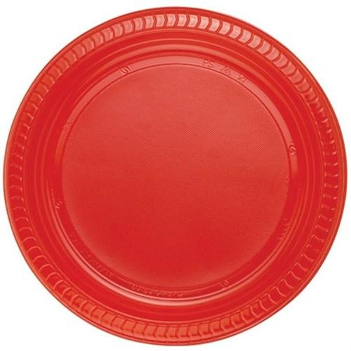 Pandoli Kırmızı Renk 22 Cm Plastik Parti Tabağı 25 Adet