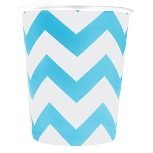 Pandoli 180 Ml Mavi Beyaz Çizgili 8 Adet Karton Parti Bardağı