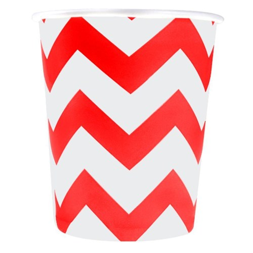 Pandoli 180 Ml Kırmızı Beyaz Çizgili 8 Adet Karton Parti Bardağı