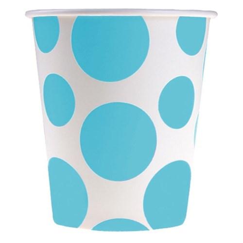 Pandoli Mavi Beyaz Puantiyeli 180 Ml Karton Parti Bardağı 8 Adet