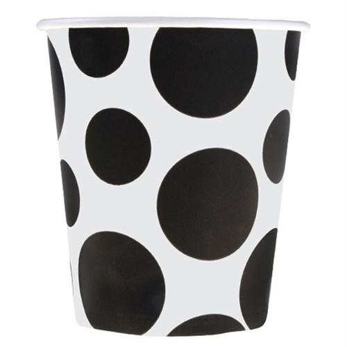 Pandoli Siyah Beyaz Puantiyeli 180 Ml Karton Parti Bardağı 8 Adet