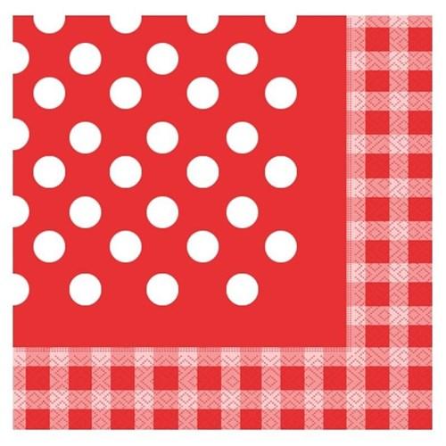 Pandoli Kağıt Parti Peçetesi 20 Adet Kırmızı Kareli Puanlı 33 Cm