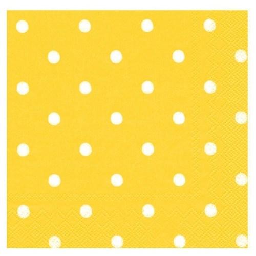 Pandoli Kağıt Parti Peçetesi 33 Cm Sarı Beyaz Puantiyeli 20 Adet