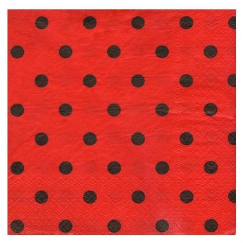 Pandoli Kağıt Parti Peçetesi 33 Cm Kırmızı Siyah Puantiyeli 20 Adet