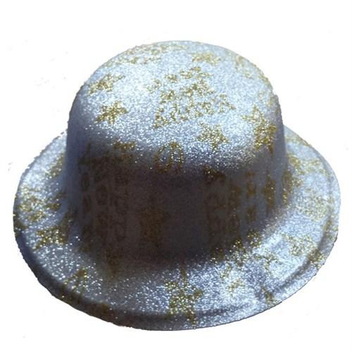 Pandoli Simli Plastik Happy New Year Yazılı Parti Şapkası Gümüş Renk
