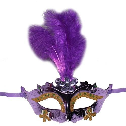 Pandoli Lila Renk İşlemeli Tüylü Parti Maskesi