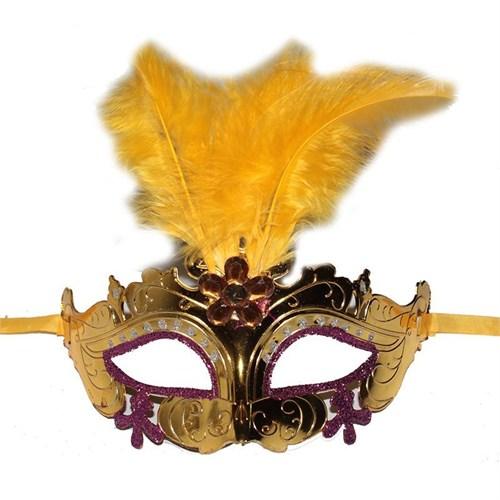 Pandoli İşlemeli Tüylü Venedik Maskesi Sarı Renk
