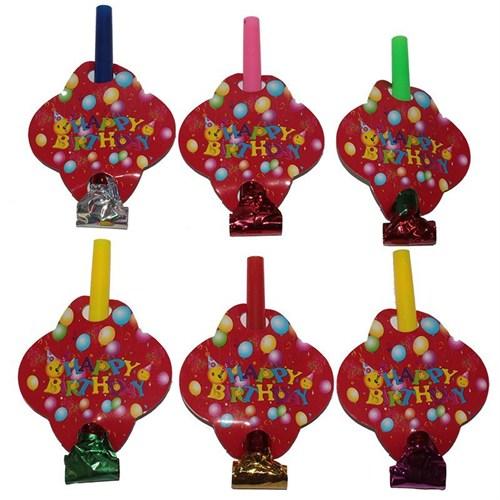 Pandoli 6 Adet Happy Birthday Parti Düdüğü Kırmızı Renk