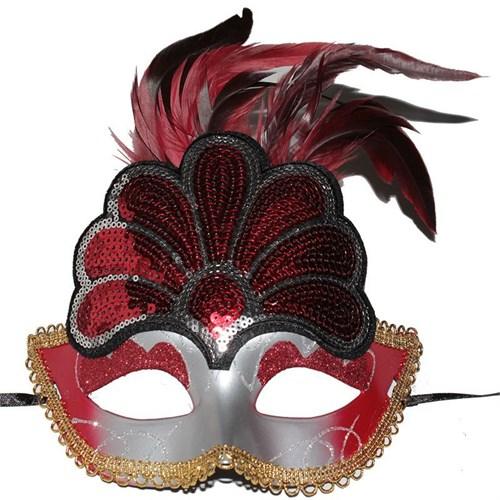 Pandoli Şekilli Tavus Kuşu Eğlence Maskesi Kırmızı Renk