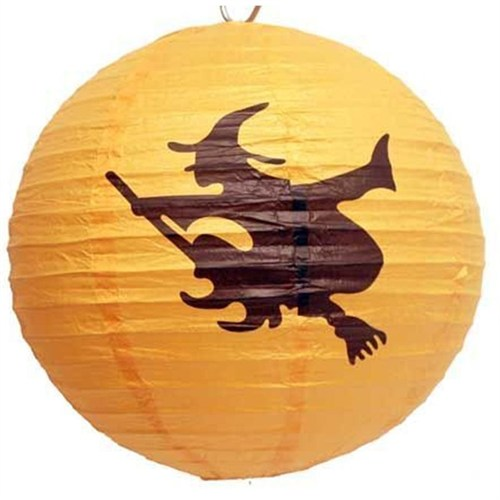 Pandoli Cadılar Bayramı 30 Cm Uçan Cadı Desenli Fener Süs Turuncu Renk