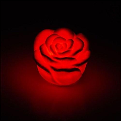 Pandoli Suda Yüzen Işıklı Gül Mum Kırmızı Renk
