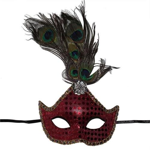 Pandoli Pullu Kırmızı Renk Tavus Kuşu Tüylü Balo Maskesi