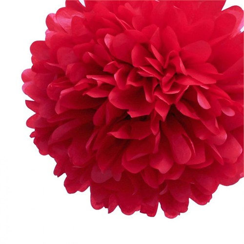 Pandoli 35 Cm Kırmızı Renk Pelur Kağıt Ponpon Çiçek Asma Süs 1 Adet