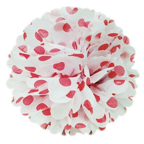 Pandoli 50 Cm Beyaz Kırmızı Puanlı Renk Pelur Kağıt Ponpon Çiçek Asma Süs