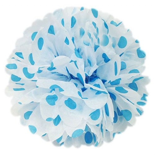 Pandoli 50 Cm Beyaz Mavi Puanlı Renk Pelur Kağıt Ponpon Çiçek Asma Süs