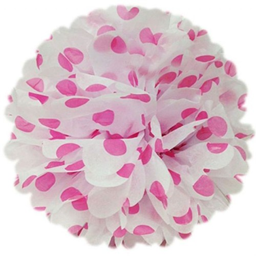 Pandoli 50 Cm Beyaz Pembe Puanlı Renk Pelur Kağıt Ponpon Çiçek Asma Süs