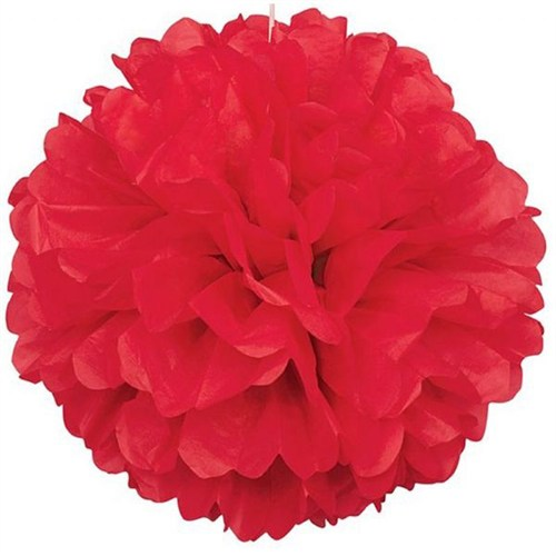 Pandoli 1 Adet Kırmızı Renk Pelur Kağıt Ponpon Çiçek 25 Cm Asma Süs