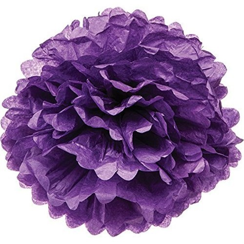 Pandoli 1 Adet Violet Renk Pelur Kağıt Ponpon Çiçek 25 Cm Asma Süs