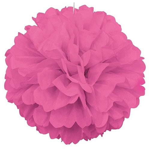 Pandoli Şeker Pembesi Renk Pelur Kağıt Ponpon Çiçek 25 Cm Asma Süs