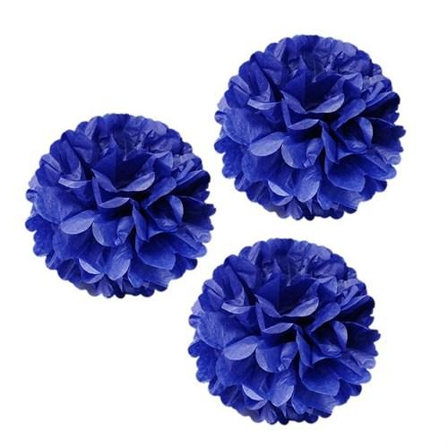 Pandoli 3'Lü Lacivert Renk Pelur Kağıt Ponpon Çiçek Asma Süs 25 Cm