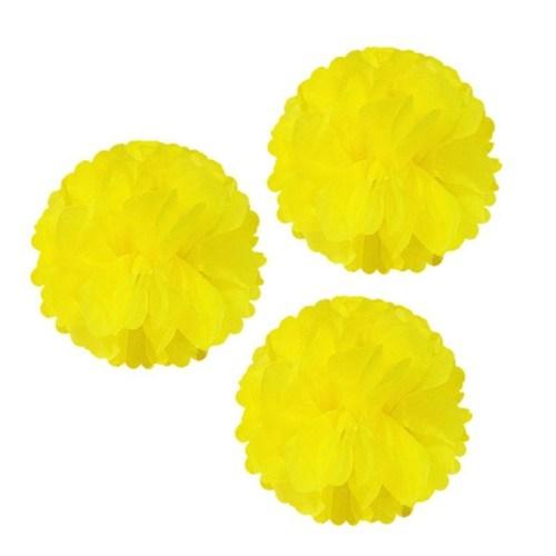 Pandoli 3 Adet Sarı Renk Pelur Kağıt Ponpon Çiçek Asma Süs 25 Cm