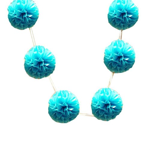 Pandoli 6'Lı Pelur Kağıt Ponpon Çiçek Dizili Asma Süs Mavi Renk 10 Cm