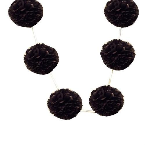 Pandoli 6'Lı Pelur Kağıt Ponpon Çiçek Dizili Asma Süs Siyah Renk 10 Cm