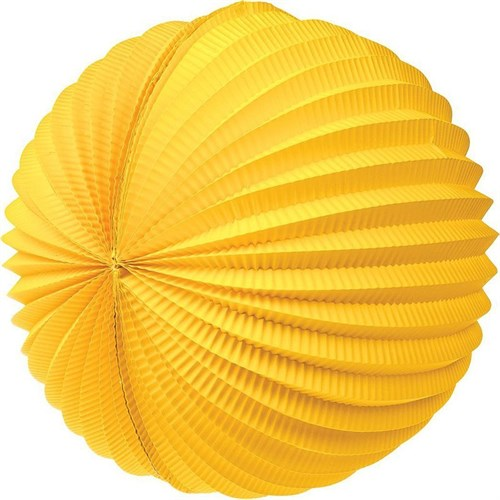 Pandoli 30 Cm Akordiyon Yuvarlak Fener Süs Sarı Renk