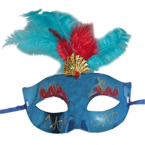 Pandoli Tüylü Simli Venedik Maskesi Mavi Renk