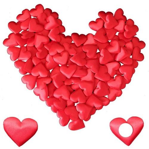 Pandoli 100 Lü Yapıştırılabilir Saten Kalp Süsler 3,5 Cm