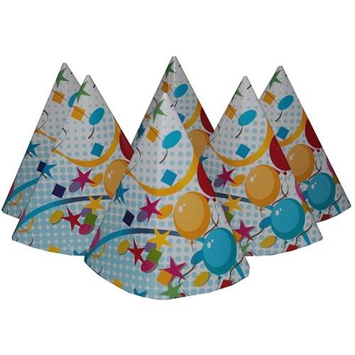 Pandoli Renkli Balonlar Karton Parti Şapkası Mavi Renk 6 Adet