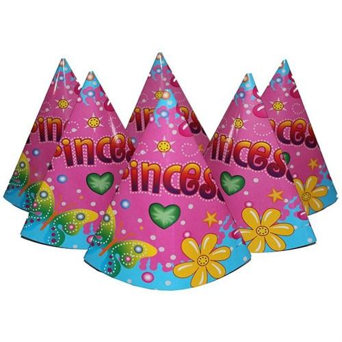 Pandoli Prenses Karton Parti Şapkası Pembe Renk 6 Adet