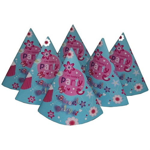Pandoli İ Am Having A Party Karton Parti Şapkası Mavi Renk 6 Adet