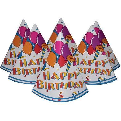 Pandoli Happy Birthday Karton Parti Şapkası Mavi Renk 6 Adet